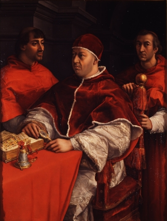 Raphael's Portrait of Leo X with cardinals Giulio de' Medici (later Pope Clement VII) and Luigi de' Rossi, his first cousins, (Uffizi gallery, Florence).jpg